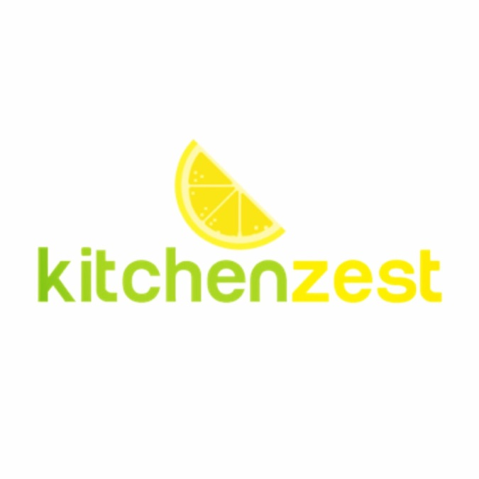 The logo of Kitchenzest is written with 'kitchen' in green  and 'zest' in yellow, with an image of half a lemon slice suspended slightly above it.  It represents health and vitality.